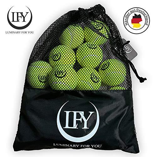 LFY Luminary for you Tennisbälle 15 Stück inklusive Mesh-Tragetasche Tennisbälle perfekt für das Training,...