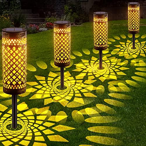 LETMY Garten Solarleuchten für Außen, 4 Stück Metall Solar Gartenleuchte mit Warmweiß und Kaltweiße, IP65...
