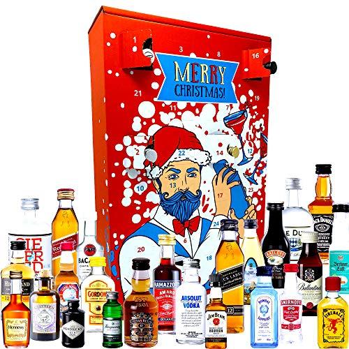 Schnaps Adventskalender 2020 mit 24 Premium Spirituosen Gin, Rum, Vodka, Whisky Adventskalender mit...