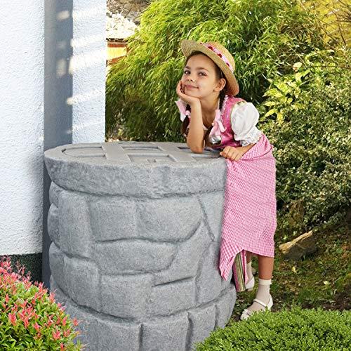 Regentonne Märchenbrunnen granit-grau 330 l, Regenfass FROSTSICHER mit stabilem Deckel und Wasserhahn,...