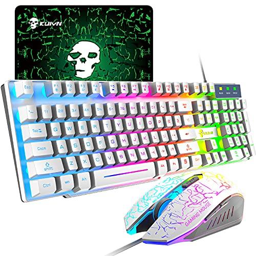 UrChoiceLtd Meyying T6 Regenbogen Hinterleuchtet Multimedia USB Spiel Tastatur + 2400DPI 6 Tasten Optisch...