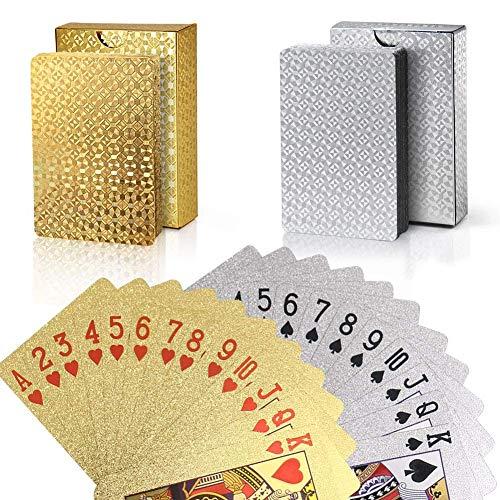 Joyoldelf 2 Stück Spielkarten, Wasserfeste Pokerkarten mit Geschenkbox,Familienparty Spiel Playing Cards...