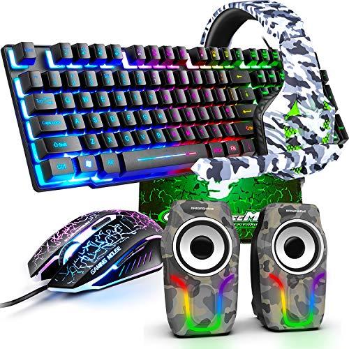 kabelgebundene Gaming-Tastatur Maus-Set, Regenbogen-Hintergrundbeleuchtung USB-Gaming-Tastatur+2400DPI...