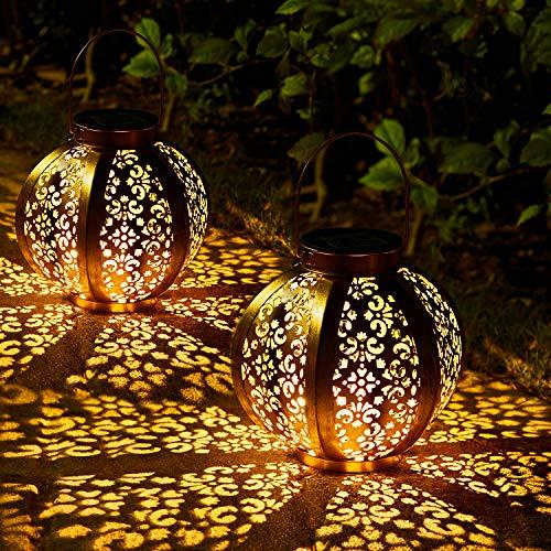 2 Stück Solar Laterne für Außen,OxyLED IP44 Wasserdicht Dekorativ Solar Gartenleuchte,Solarlampe Outdoor...