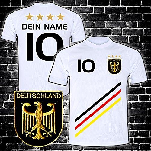 Deutschland Trikot mit GRATIS Wunschname Nummer Wappen Typ #D 2018 günstig im EM/WM Weiss - Geschenke für...