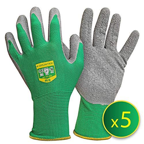 GRÜNTEK 5 Paar Frauen Gartenhandschuhe M mit LATEX-Beschichtung, geeignet für den privaten und gewerblichen...