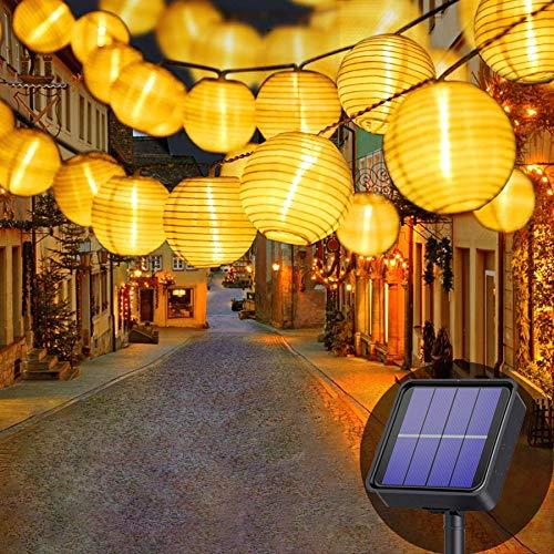 Lezonic Solar Lichterkette Lampion Außen, 8 Meter 30 LED Laternen 8 Modi Wasserdicht Solar Beleuchtung für...