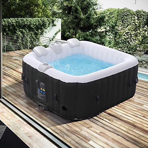Arebos Whirlpool | aufblasbar | In- & Outdoor | 4 Personen | 100 Massagedüsen | mit Heizung | 600 Liter |...