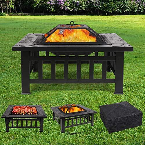 femor Feuerstelle mit Grillrost 81x81x45cm, Multifunktional Fire Pit für Heizung/BBQ, Garten Terrasse...