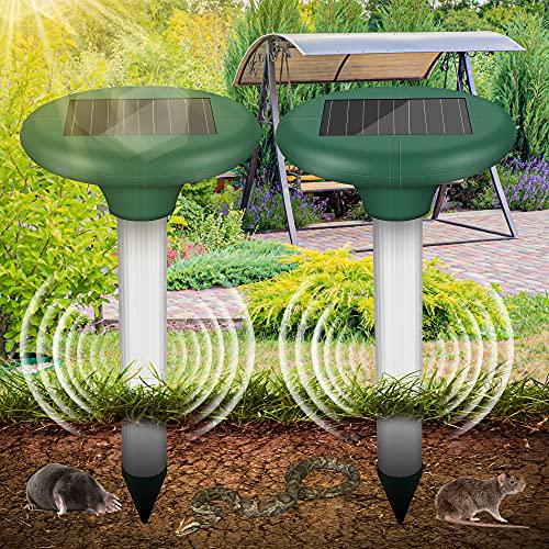 [2 Stück] Wühlmausschreck Solar - Ultrasonic Solar Maulwurfschreck, Maulwurfabwehr mit IP56 Wasserdicht,...