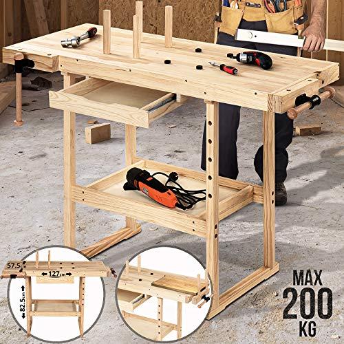 Hobelbank - 127x57,5x82,5 cm, aus Holz mit Spannzange, Schraubstock und Schublade, bis 200 kg belastbar -...