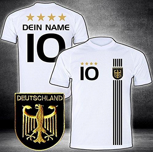 Deutschland Trikot mit GRATIS Wunschname + Nummer + Wappen Typ #D 2017 günstig im EM/WM Weiss - Geschenke...