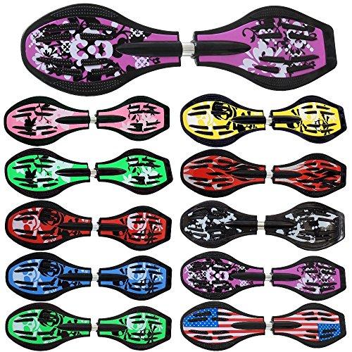 FunTomia Waveboard Original Mach1 Kugellager inkl. Tasche und CD (Verschiedene Farbdesigns) (Lila/Blumen)