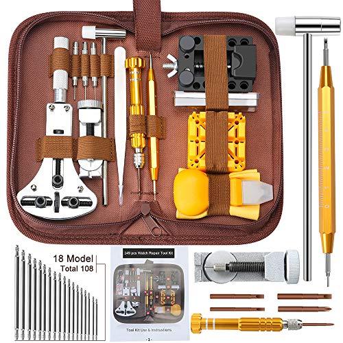 Uhrenwerkzeug Set 149tlg E·Durable Aufgerüstet Uhrmacherwerkzeug Uhr Werkzeug Profi Tasche Reparatur mit...