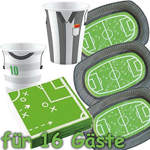 Amscan/Carpeta 51-teiliges Party-Set * Fussball-Stadion * für WM 2018-Party oder Kindergeburtstag // mit 12...