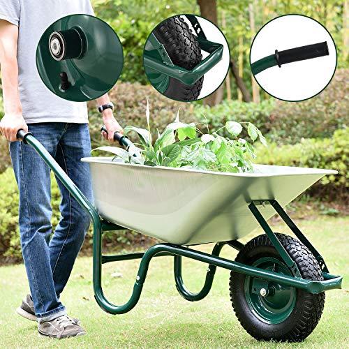 Juskys Schubkarre Garden | 100 Liter Volumen | 210 kg | Luftreifen mit Metall Felge | Wanne verzinkt | Garten...