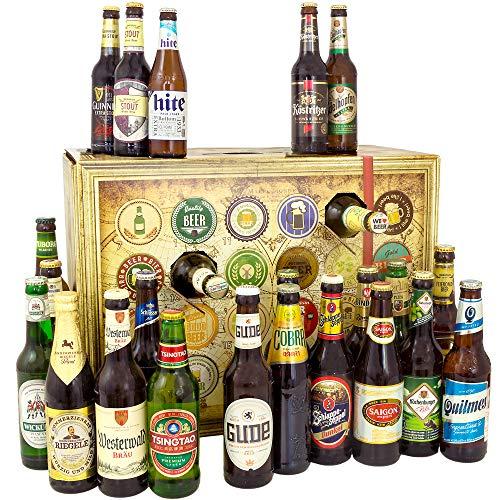 Bier Adventskalender Welt und Deutschland, MEHRWEG 24 Flaschen Bier, Geschenk mit Bieren aus aller Welt &...