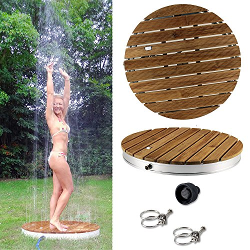 @tec runde Gartendusche Aussendusche aus massivem Teak-Holz, Mobile Bodendusche Campingdusche, Sauna- &...