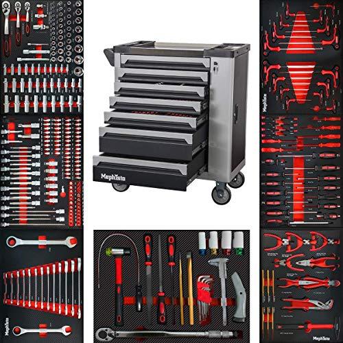 XXL Werkzeugwagen Werkstattwagen mit 7 Schubladen davon 7 mit Werkzeug wie Schraubenschlüssel, Ratsche mit...