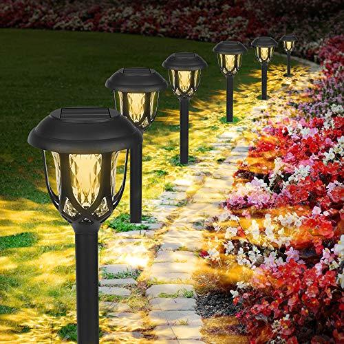 Solarleuchten Garten Warmweiß, 6 Stück Wasserdichte Solar Gartenleuchte, LED Außenleuchte Solarlampen,...