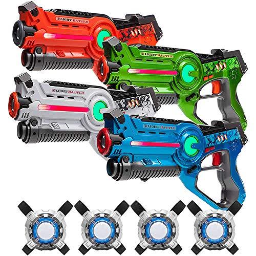 Light Battle Active Lasertag für Zuhause - 4X laserpistole (orange, grün, weiß, blau) + 4 Weste -...