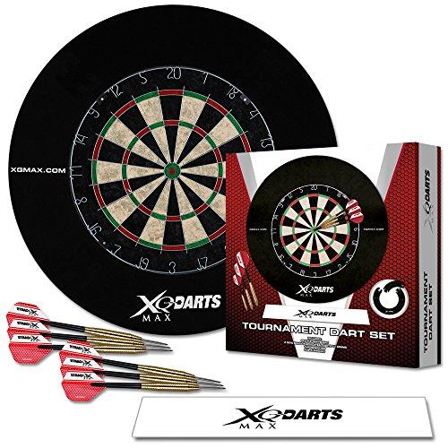 TW24 Dart Turnier Set mit Surround Ring - Dartscheibe - Steeldarts- Surround Ring - Abwurflinie
