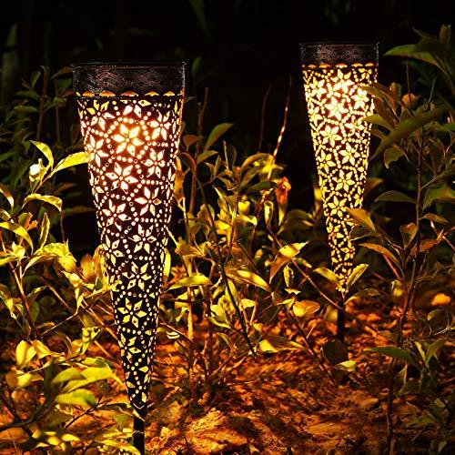 Metall Solarlampen für Außen Garten, 2 Stück LED Solarleuchten Garten mit IP65 Wasserdicht, Orientalisch...