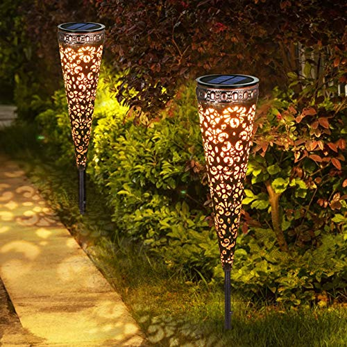 Görvitor Solarleuchten Garten Metall 2 Stück Solarlampen für Außen Garten, Görvitor LED Solar...