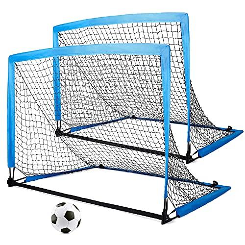 2er Set Kinder Fußballtore Fußballtor faltbar & tragbar mit Tasche zum Transportieren 8 x Bodenanker für...