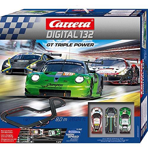 Carrera DIGITAL 132 GT Triple Power – Elektrische Autorennbahn │ Premium-Rennbahn für bis zu 6 Spieler...