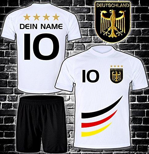 DE-Fanshop Deutschland Trikot + Hose mit GRATIS Wunschname + Nummer + Wappen Typ #D 2019 im EM/WM Weiss -...