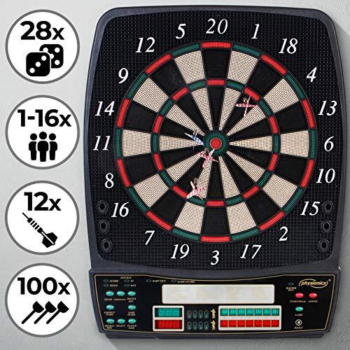 Physionics Elektronische Dartscheibe - 28 Spiele, 12 Soft Pfeile und 100 Ersatzspitzen, LED Anzeige - Profi...