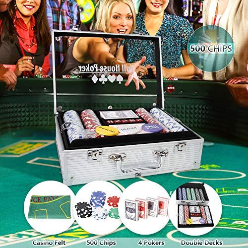 CCLIFE 300 500 PCS Pokerset Profi Pokerspiel inkl. Pokerkoffer Pokerdecks Dealer Button Poker Set Pokerchips...