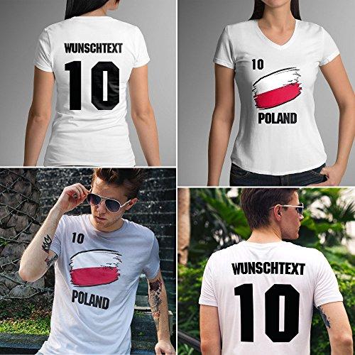Poland | Polen | Mnner oder Frauen Trikot T - Shirt mit Wunsch Nummer + Wunsch Name | WM 2018 T-Shirt