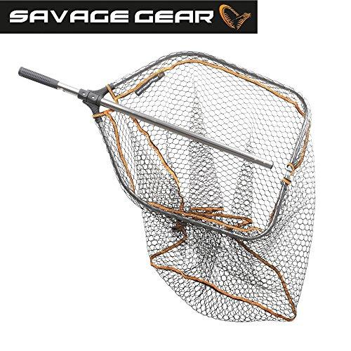 Savage Gear Pro Folding Rubber Large Mesh Landing Net L (65x50cm) Kescher, Angelkescher, Fischkescher,...