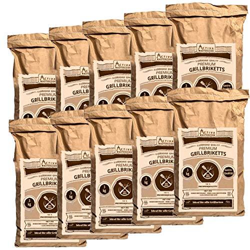 ACTIVA 'Premium Gastro Grillbriketts 30 kg (10 x 3 kg) Grillbriketts Steakhausqualität Steakhouse Qualität...
