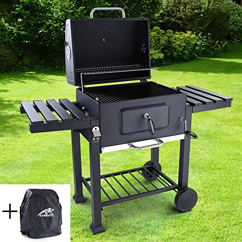 RAMROXX 38333 BBQ XL Holzkohle Grillwagen RX850 Grill Smoker Barbecue für Garten Terrasse