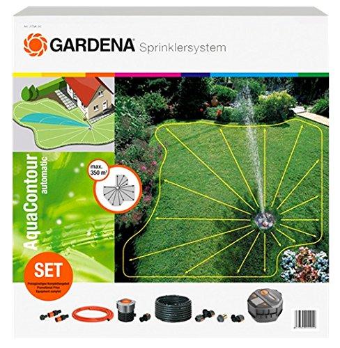 Gardena Sprinklersystem Komplett-Set mit Vielflächen-Versenkregner AquaContour automatic: Bewässerungssystem...