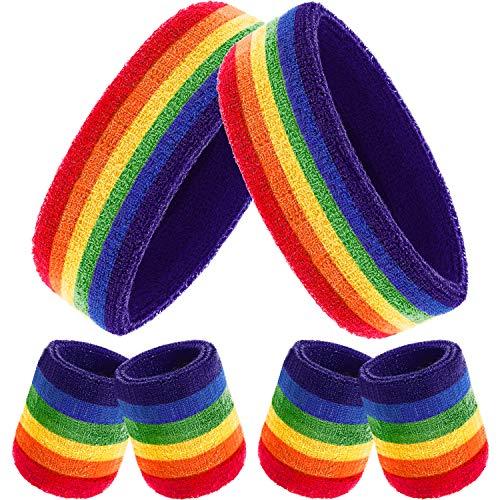 Bememo 6 Stück Gestreifte Schweißbänder Set, Enthält 2 Stück Sport Stirnband und 4 Stück Armbänder...