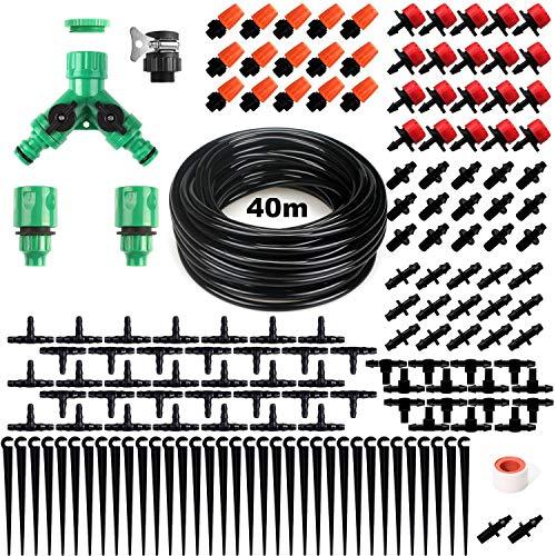 OUTERDO 40m Bewässerungssystem Garten,158Pcs Mikro Drip Bewässerungssets, Automatik Tröpfchenbewässerung...