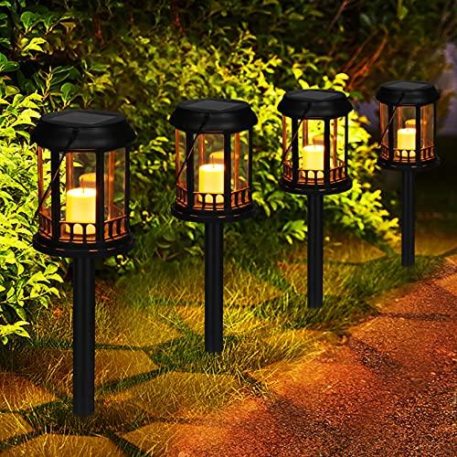 Solarlaternen Außen GolWof 4 Stk Wasserdicht Energiesparend Solarlampen für Außen Garten Warme Gelbe...