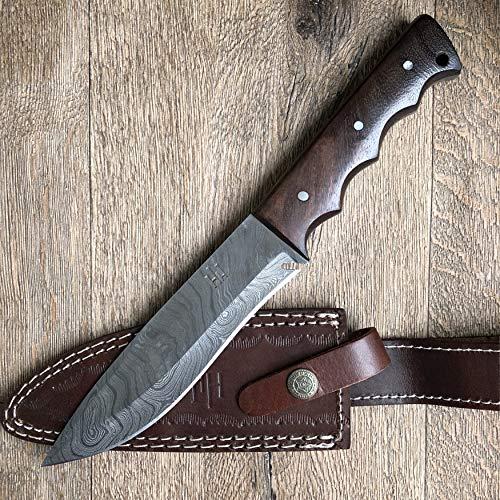 Hobby Hut HH-401, Bushcraft damaststahl Survival Messer, Damastmesser Jagdmesser mit Lederscheide, Extra...