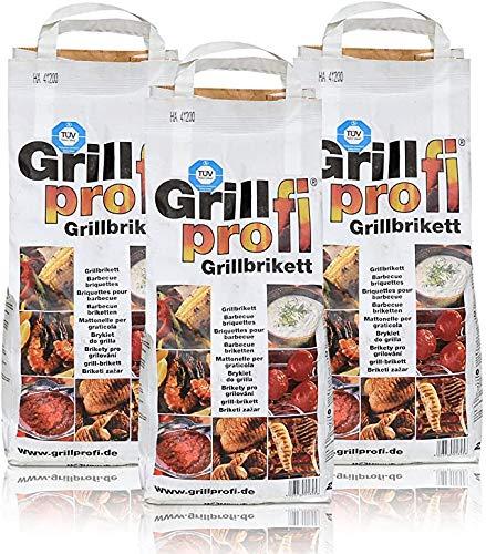 Grillprofi Premium Grillbriketts 26kg Grillkohle Grill Brikett Kohle Holz Holzkohle für Kugel- &...