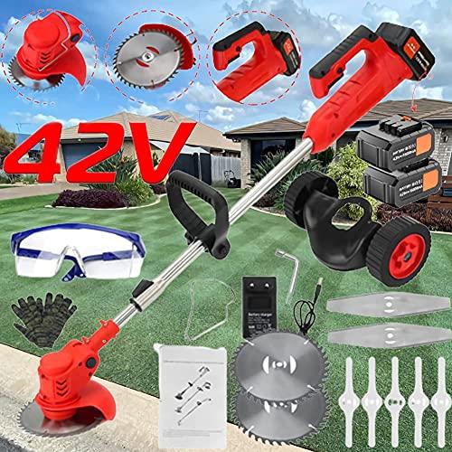 HTDZSW Rasentrimmer mit Akku - 1880W/42V - Rasentrimmer Elektro, Easy to Use, Rasentrimmer für Garten Unkraut...