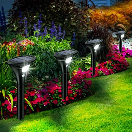 Leolee Solarlampen für Außen, [4 Stück] Solarleuchten Garten, LED Gartenleuchten Solar mit Bewegungsmelder,...