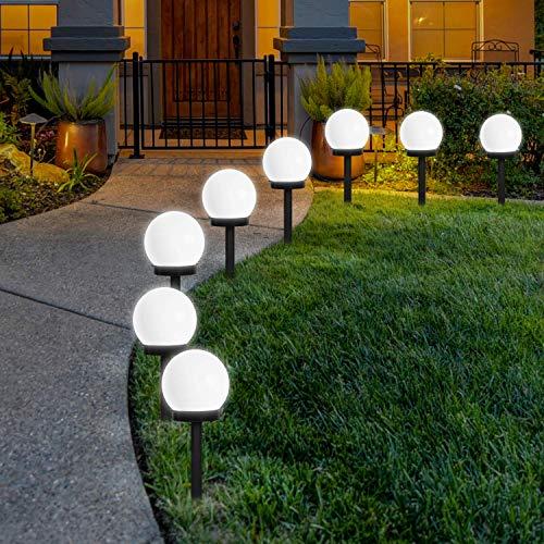 FLOWood Solar Gartenleuchte wasserdicht Solarlampe für Garten Außen LED Kugel mit Erdspieß Kunststoff ∅10...