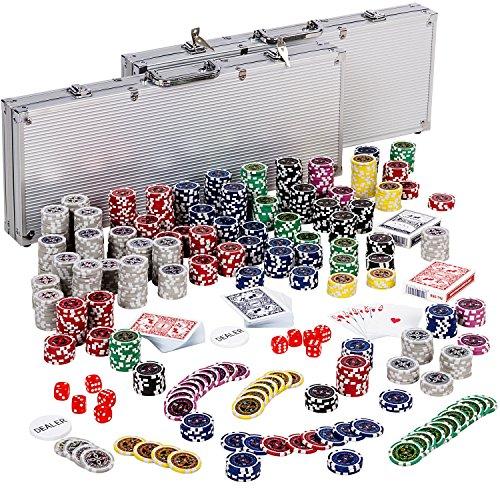 Ultimate Pokerset mit 1000 hochwertigen 12 Gramm METALLKERN Laserchips, inkl. 2x Pokerdecks, Alu Pokerkoffer,...
